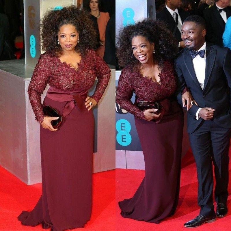2018 Burgundia Celebrity Suknie Wieczorowe Długie Rękawy Koronki Top Matka panny Młodej Suknie Eleganckie Plus Size Red Dywan Suknie Prom Dresses