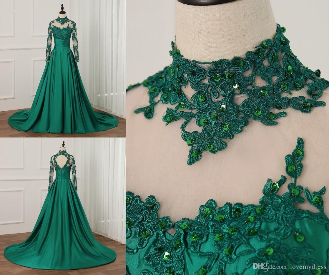 Echte foto donkergroene Afrikaanse Nigeriaanse kant stijlen avondjurken elegante lange mouwen formele jurken goedkoop een lijn satijnen kralen prom dress