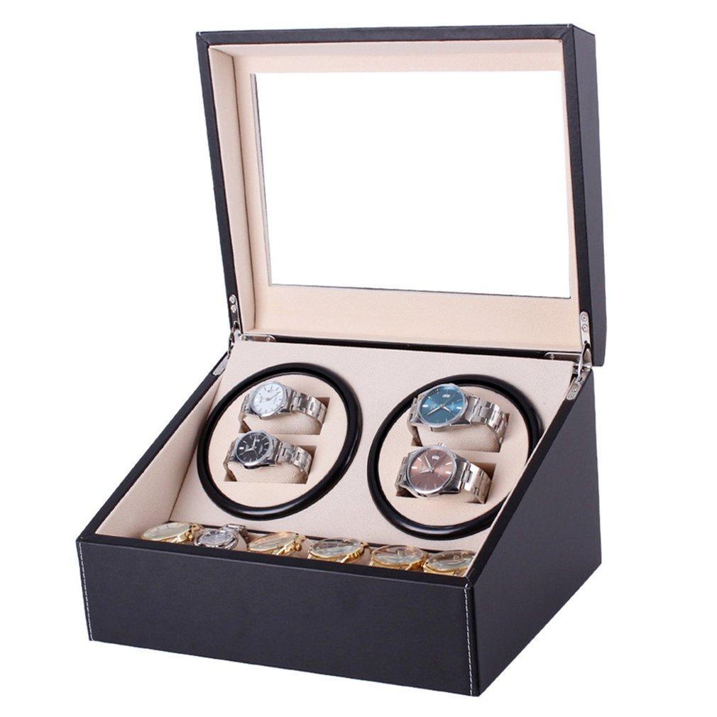 الميكانيكية ووتش اللفافات الأسود PU جلدية التلقائية صندوق تخزين ووتش كوكتيل مجوهرات العرض الولايات المتحدة قابس ويندر صندوق
