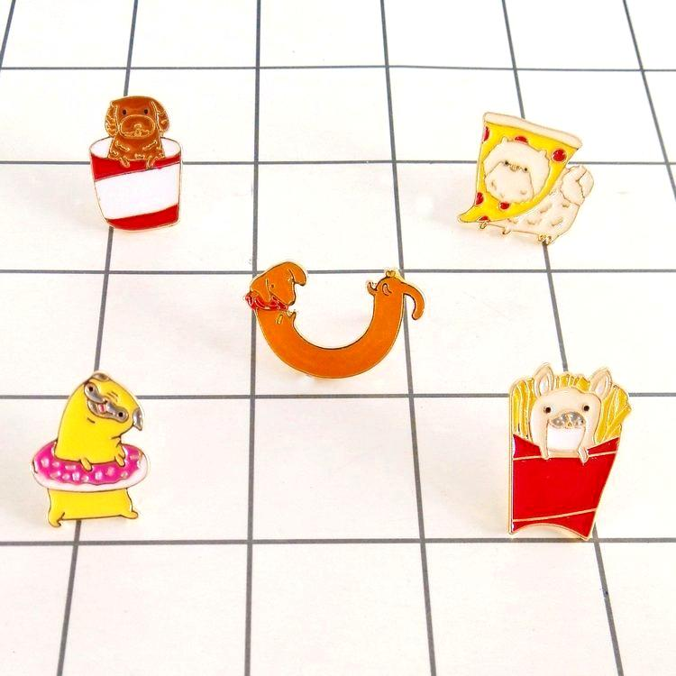 free shipping 10pcs/ lot costume jewellery bag jean accessories metal enamel chips pizza donut baby puppy hot dog Enamel Pin