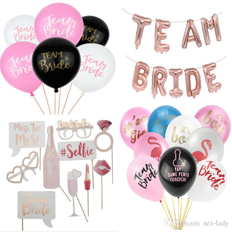 Hot style Team Bride Series Wedding Bachelorette Party Decoration Supplies Accessories Balloon Sash Photo Booth Props Glasses letter