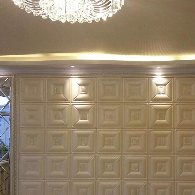 DIY Self Adhesive PE Foam 3D Wall Stickers Anti-collision Waterproof Wallpaper Wall Decor Living Sticker For Room 30X30CM