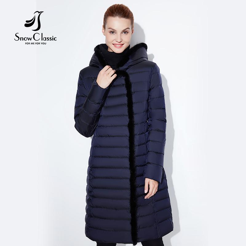 SnowClassic 2018 nouvelle veste femme chaude hiver manteau long de mode printemps outwear solide slim veste épaisse bord avant col de fourrure de renard S18101203