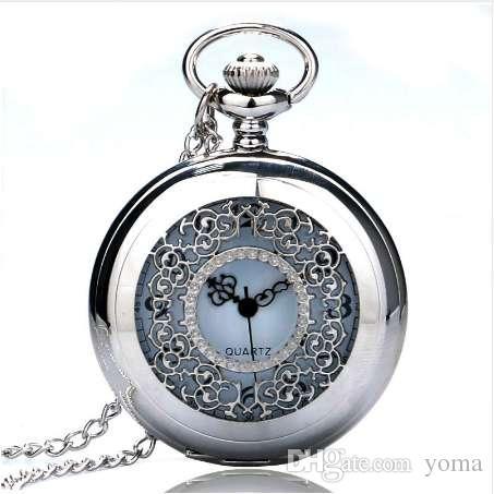 Старинные кулон полые изысканные решетки элегантный ретро подарок Мужчины Женщины карманные часы с серебряным кварцем ожерелье цепь карманные часы