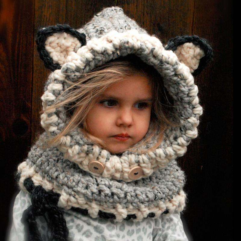 New arrival Winter Children Crochet Hooded Cat Cowl Caps Neck Wrap Scarf Knitted Collar Baby scarf and hat echarpe bonnet set D18102905