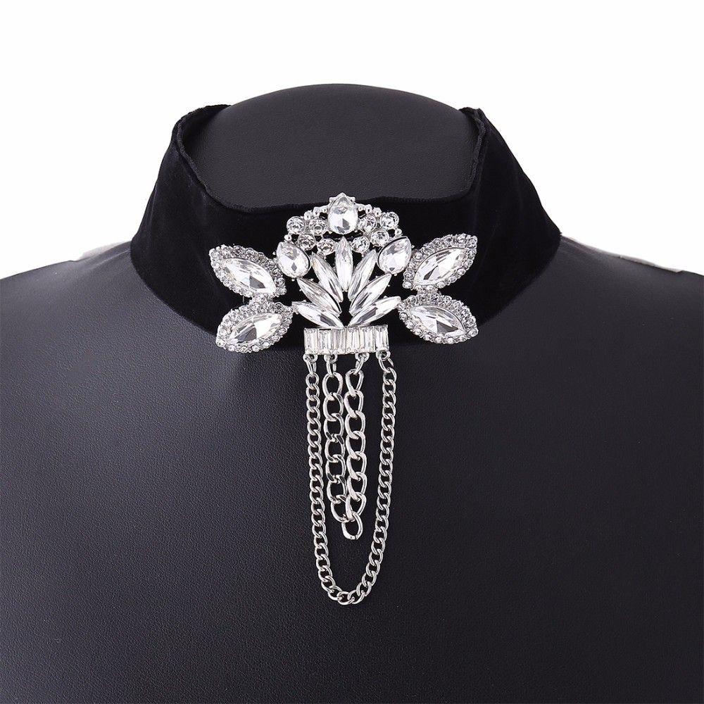 Черный бархат колье колье 2017 мода готический колье цветок горный хрусталь заявление ожерелье женщины ювелирные изделия