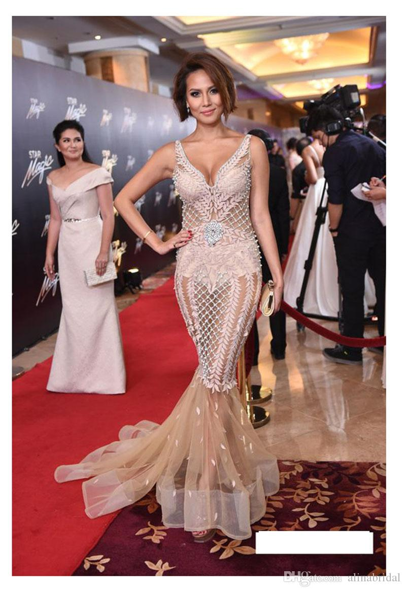 2018 Sexy mermaid pink Cocktail Dresses sexy tulle Sheath Celebrity Gowns Sleeveless floor Length Prom Party Dress Real Images