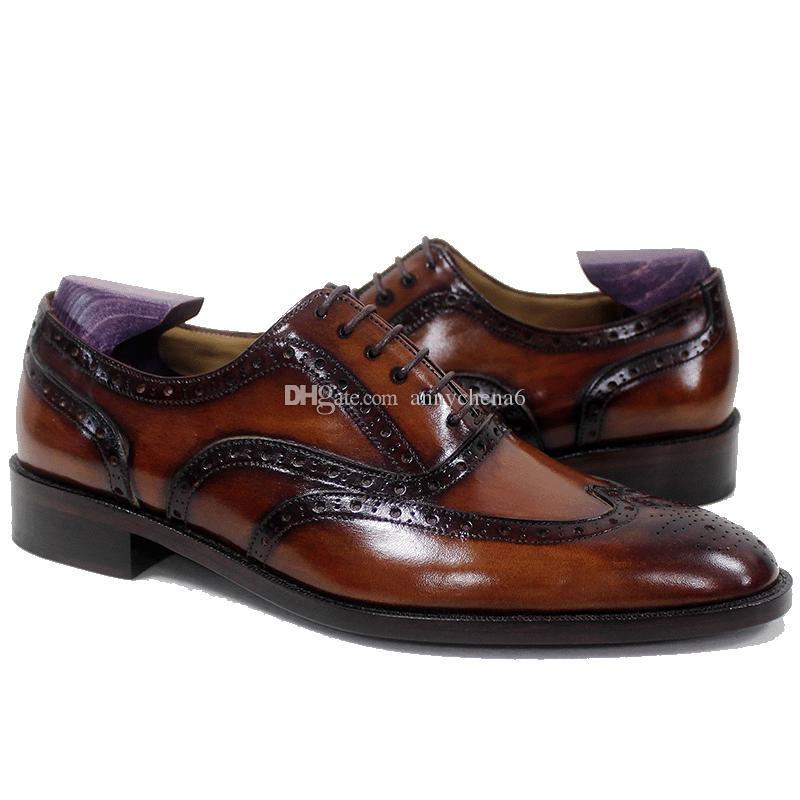 Мужчины платье обуви оксфорды обуви пользовательские ручной работы brogues круглый носок патина коричневый дышащий натуральная телячья кожа OX-020