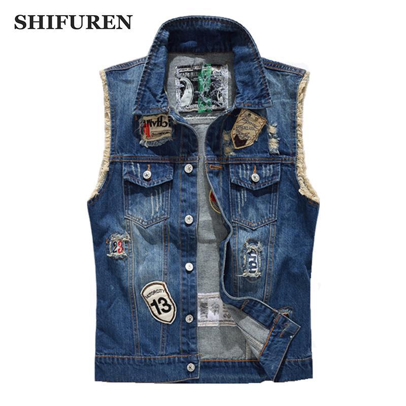 انفجرت shifuren الدنيم سترة الرجال الأزياء التصحيح تصاميم كاوبوي المتوترة جينز أكمام جاكيتات الشرير الصخرة دراجة نارية صدرية