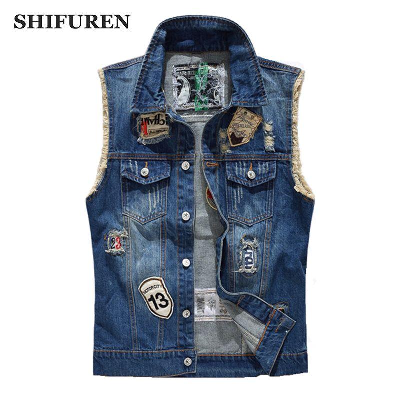 Shifuren разорванный джинсовый жилет мужчина модный патч дизайн ковбой потертый джинсы без рукавов куртки панк рок мотоциклетный жилет