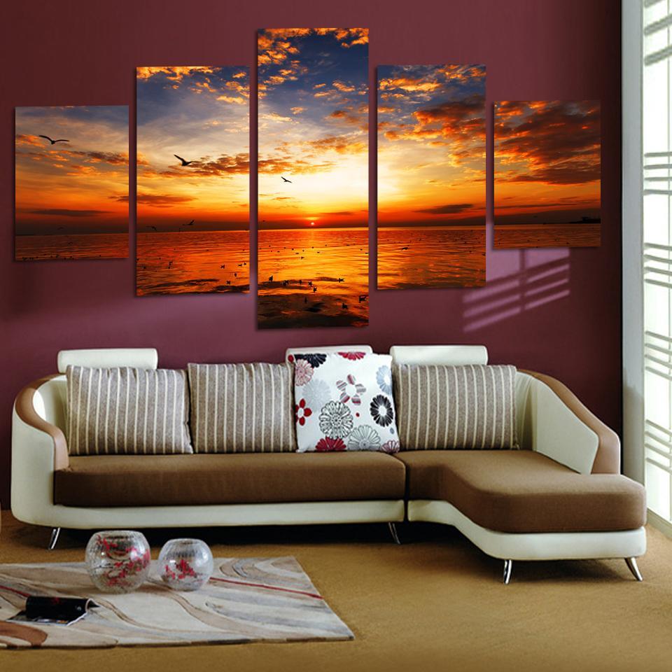 Бесплатная Доставка 5 Панелей Вид На Море Холст Картины Домашнего Декора Для Гостиной Холст Искусства, Напечатанные На Холсте Стены Картина Без Рамки
