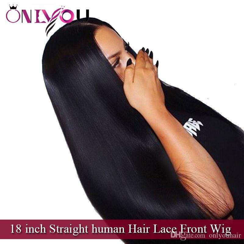 Улучшенный поставщик бразильские девственные волосы 18 дюймов прямые человеческие волосы кружева перед парики для чернокожих женщин перуанский Индийский Реми человеческих волос парики