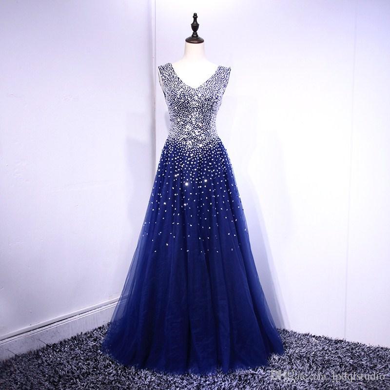 Fantasia Royal Blue vestido de baile Prom Vestidos real Pictures brilhando sequins BeadsLace-up Voltar Vestidos Stuning Sequins