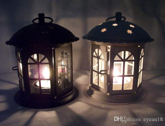 Marocchino Decor Ferro Antico Stella Casa Candeliere Romantico Europeo Vela de Casamento Titular Lanterna Retro Decorazione Della Casa Sconce