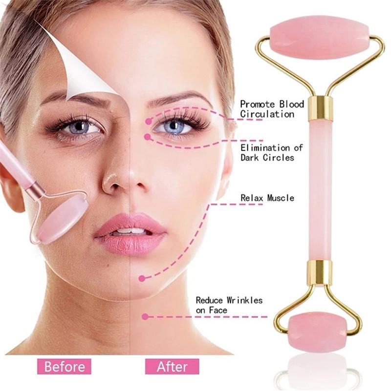 6 colori rullo di massaggio facciale di pietra naturale pratico giada viso anti rughe corpo testa bellezza portatile strumenti sanitari goccia nave 1 pz