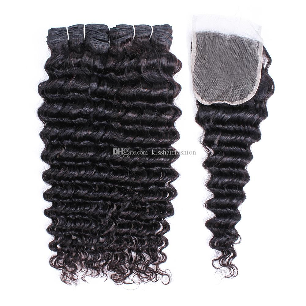 Raw Virgin Indian Deep Wave Human Hair Extensions 2 Bundles With Lace Closure Natural Color Can Be Dyed Hair Bundles