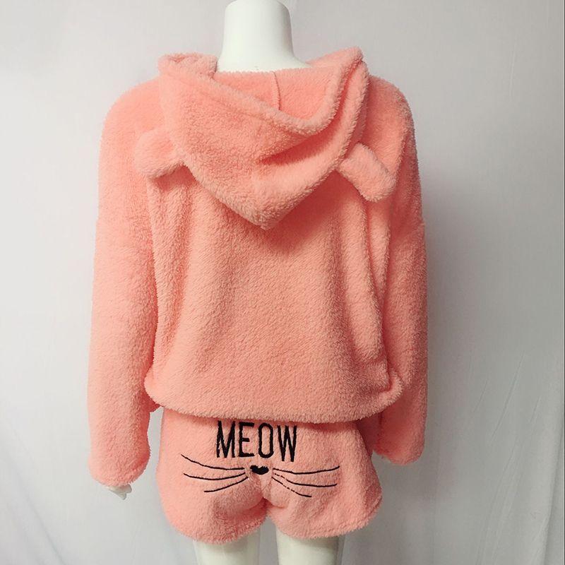 5XL Plus size 2 piece set outfits 2018 Autumn winter warm hoodies pullover shorts jumpsuit Women cute rompers