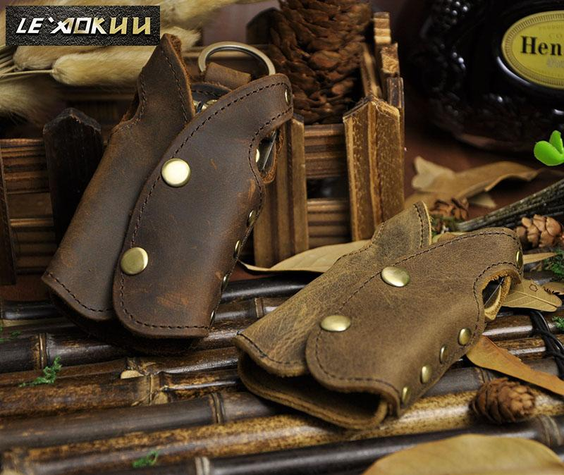 2016 New Top Quality Men Genuine Leather Vintage Brown Waistcoat Car Key Case Ring Cover Holder