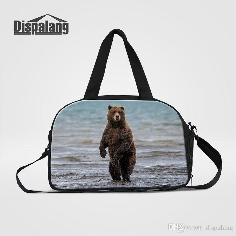 Canvas Men's Travel Bags Carry On Luggage Bag Bear Zoo Animal Printed Duffle Bag With Shoes Pocket Medium Weekend Bags High Quality Hand Bag