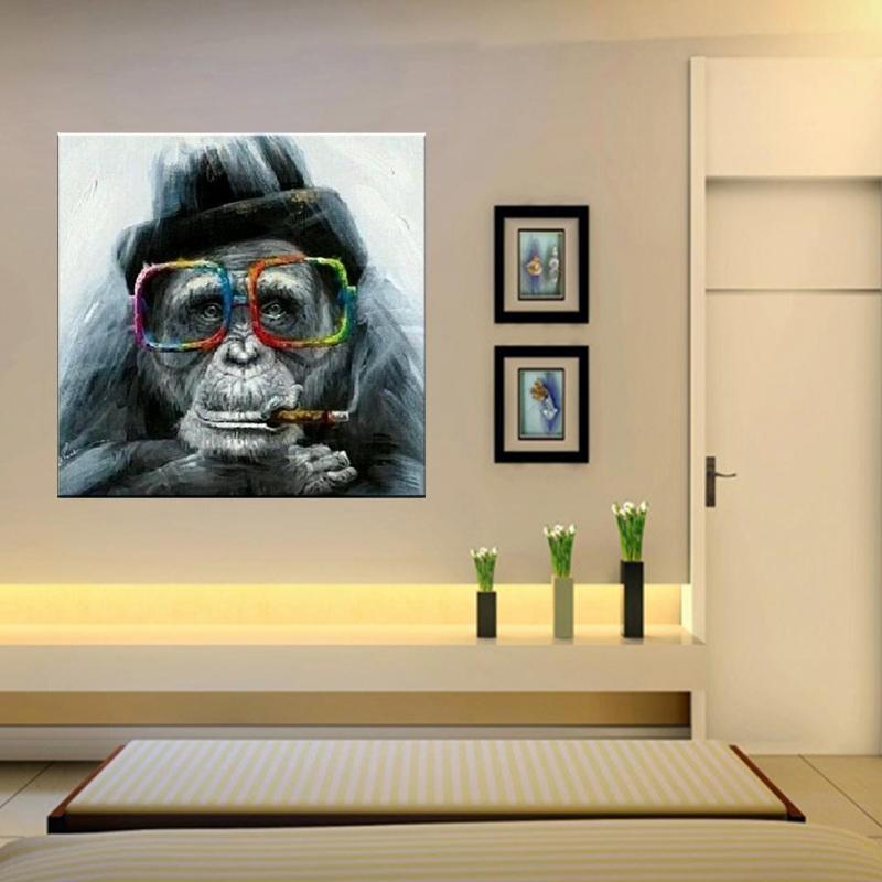 Pintado a mano HD Impreso pintura al óleo Resumen Animal Feliz mono Arte de la pared Decoración del hogar de alta calidad sobre lienzo Opciones de marco de varios tamaños a66