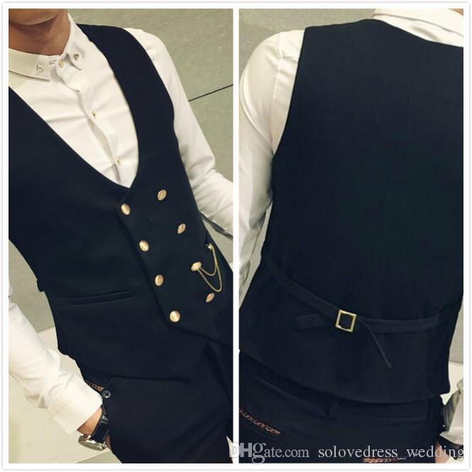 جديد صدرية البدلة الصدرية أزياء مزدوج اعتلى سليم صالح Menle اللباس سترة لثوب الزفاف الرسمي