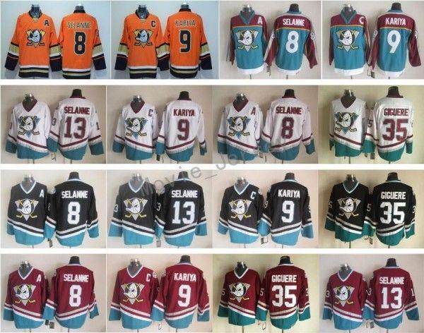 Anaheim Ducks Men 35 Джин-Себастьян Джигер Джерси 8 Teemu Selanne 9 Paul Kariya Хоккей с шайбой Vintage CCM Сшитый Красный Черный Белый