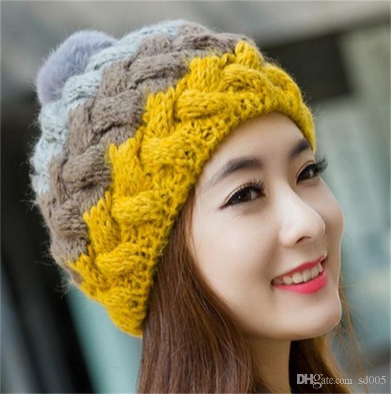 New Rabbit Hair Ball Cap Handmade Hook Knitting Woolen Hat Multicolor Lovely Hats Autumn Winter Warm Caps Beanie 14 3pl gg