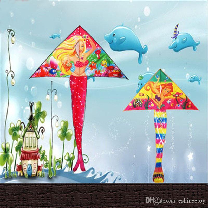 satin al sicak cam elyaf takviyeli plastik el yapimi weifang ucgen mermaid cocuk 1 8 metre parlak bez cocuk ruzgar ucurtma tl85 41 tr dhgate com