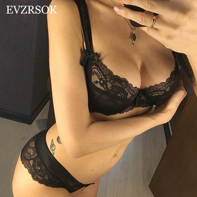 블랙 Fshion 여성 속옷 섹시한 브래지어 팬티 플러스 사이즈 C D 컵 자수 레이스 란제리 세트 투명 투명 브래지어
