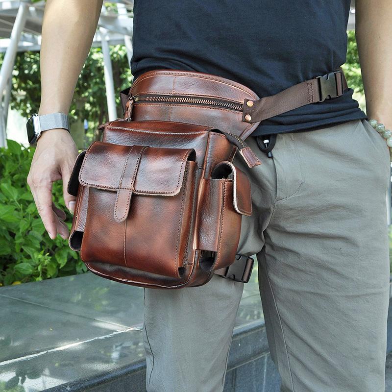 """Qualität Leder Männer Design Casual 8 """"Tablets Satchel Schultertasche Multifunktions Mode Reise Gürtel Pack Beinbeutel Männlich 913-5bu"""