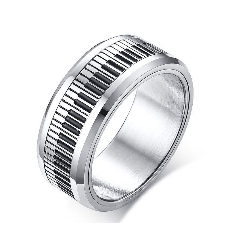 Moda Ze Stali Nierdzewnej Stalowe Pierścienie Srebrny Kolor Muzyczny Piano Klawisze Pierścienie Dla Mężczyzn Kobiety Unisex Biżuteria