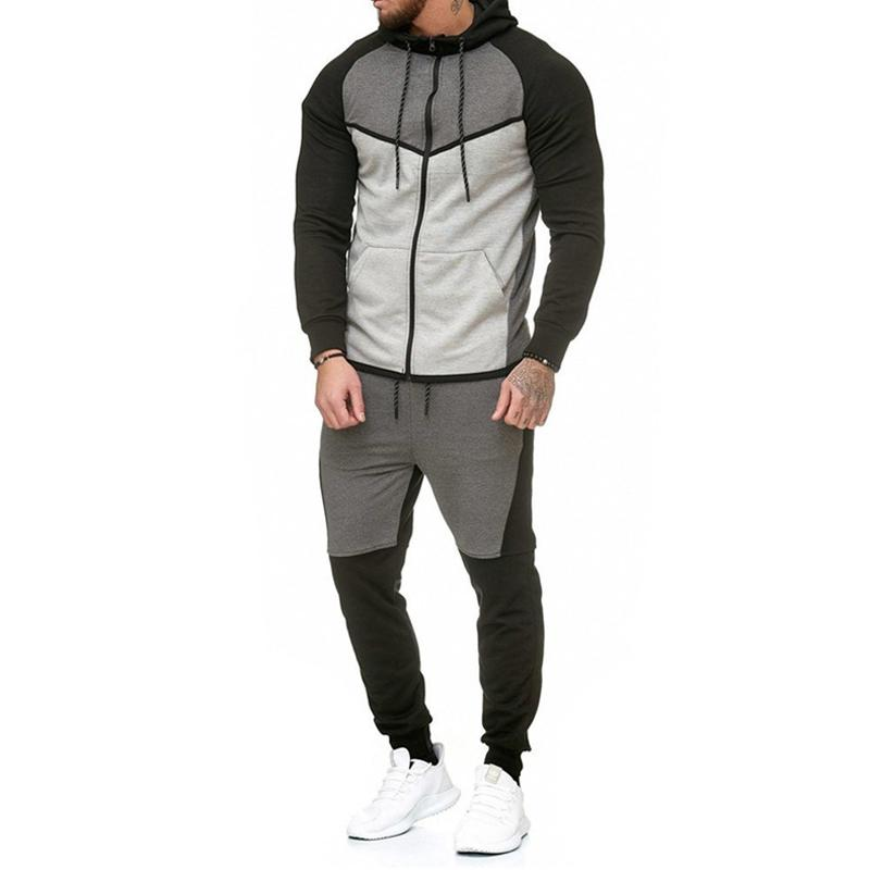 Automne Fitness Sportswear Hommes Set Fashion Tracksuits Ensembles Homme Bodybuilding Sweats à capuche Hoods Casual Outwear Cuissons Dropshipping