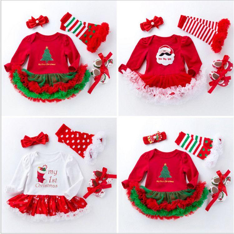 عيد الميلاد الطفل الفتيات السروال القصير 4 قطع مجموعة طفل babysuit توتو فستان جورب bowknot عقال prewalker xmax البولكا نقطة فساتين الرضع