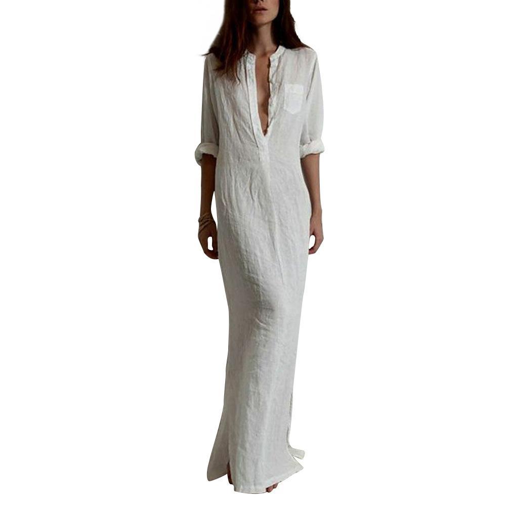 Europäischer und amerikanischer Wind, großer Code, Kleid der Frauen, beiläufiges Kleid, ultra tiefes V Baumwoll- und Leinenkleid 00348