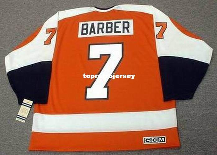 Vente en gros Mens BILL BARBER Philadelphia Flyers 1974 CCM Vintage Away Pas Cher Retro Hockey Jersey