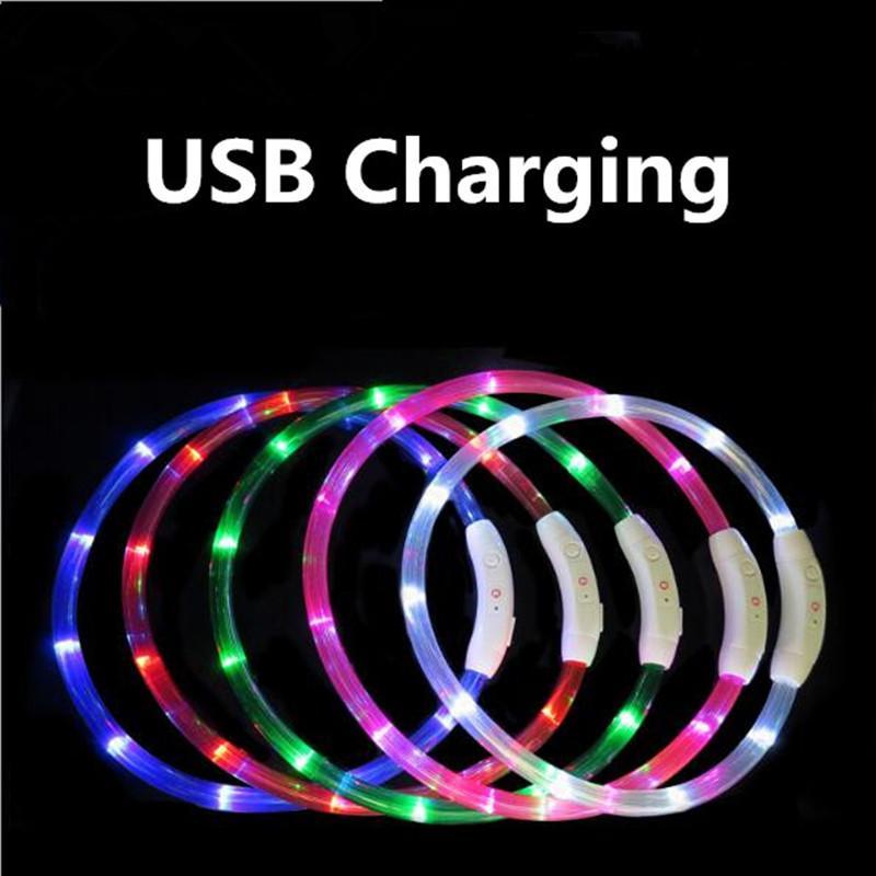 القابلة لإعادة الشحن وامض ليلة الكلب الياقات USB مضيئة الحيوانات الأليفة طوق أدى ضوء USB شحن طوق الكلب متوهجة تيدي فلاش طوق ترويج الحيوانات الأليفة