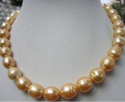 11-13 мм бисером ожерелья Южное море барокко золото желтый жемчуг ожерелье 18 дюймов 14 K золото Застежка
