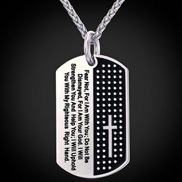 Collares Bibel Kreuz Männer Halskette Military Dog Tag 316L Edelstahl Halskette Männer Schmuck Religiöse Bibel Vers Halskette