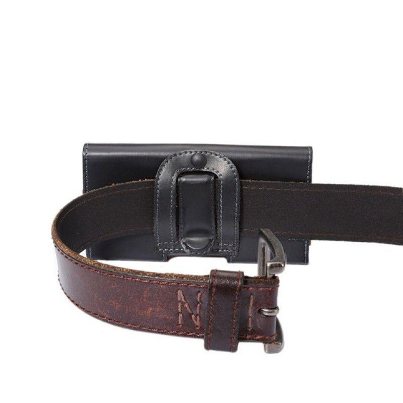 Universal Belt Clip PU Leather Waist Holder Flip Pouch Case for Homtom HT37 Pro/HT37