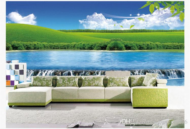 Benutzerdefinierte 3D Foto Tapete Scenic Wasserfall Forest Wallpaper Wohnzimmer TV Sofa Hintergrund Wand 3D Natur Landschaft Wandbild Tapete