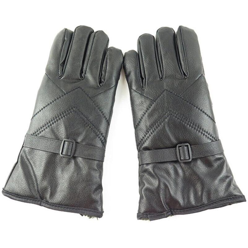 SUOGRY Men Winter Gloves Retro Thick Leather Gloves PU Plush Cuff Outdoor Anti-skid for Men