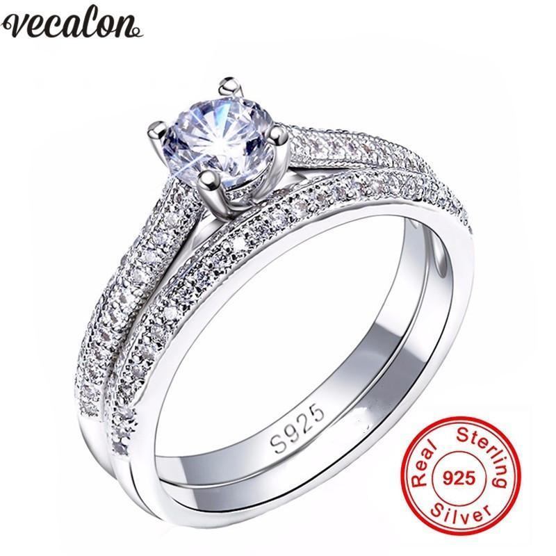 Vecalon 3 couleurs Couple bague d'anniversaire 5A Zircon Cz 925 argent sterling bague de fiançailles de mariage bagues pour femmes bijoux de mariée D18111306