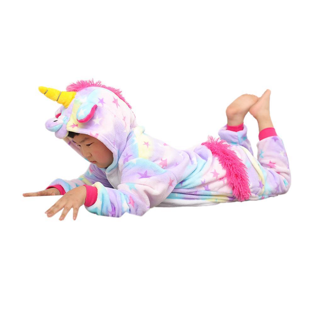 cute kids onesie pajamas cartoon unicorn cosplay hooded flannel pajamas for 3-10years children boys girls thick warm sleepwear clothing
