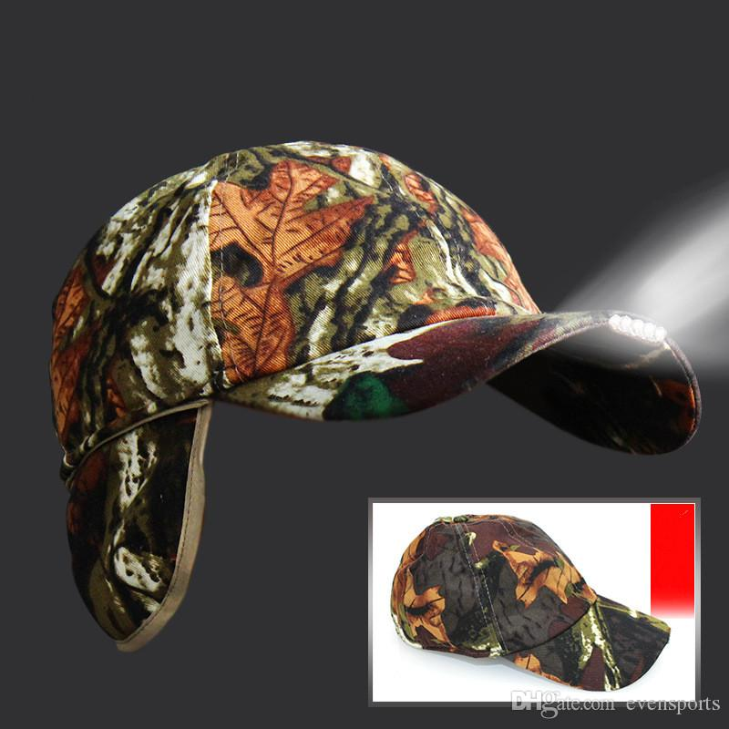 2018 New Night Fishing Caps Cotton Materials Camouflage With LED Lamp Folding Light Hat Outdoor Headlamp