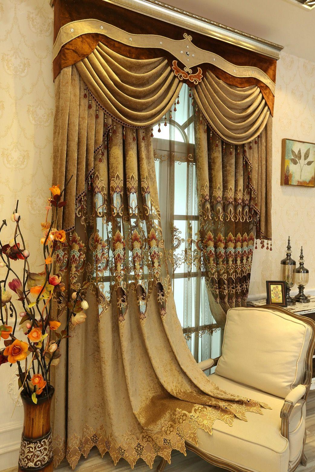 Vorhang im europäischen Stil Spitze Luxus Luxus Vorhänge wasserlösliche hohlen Stickerei Schlafzimmer Wohnzimmer individuellen fertige Vorhänge