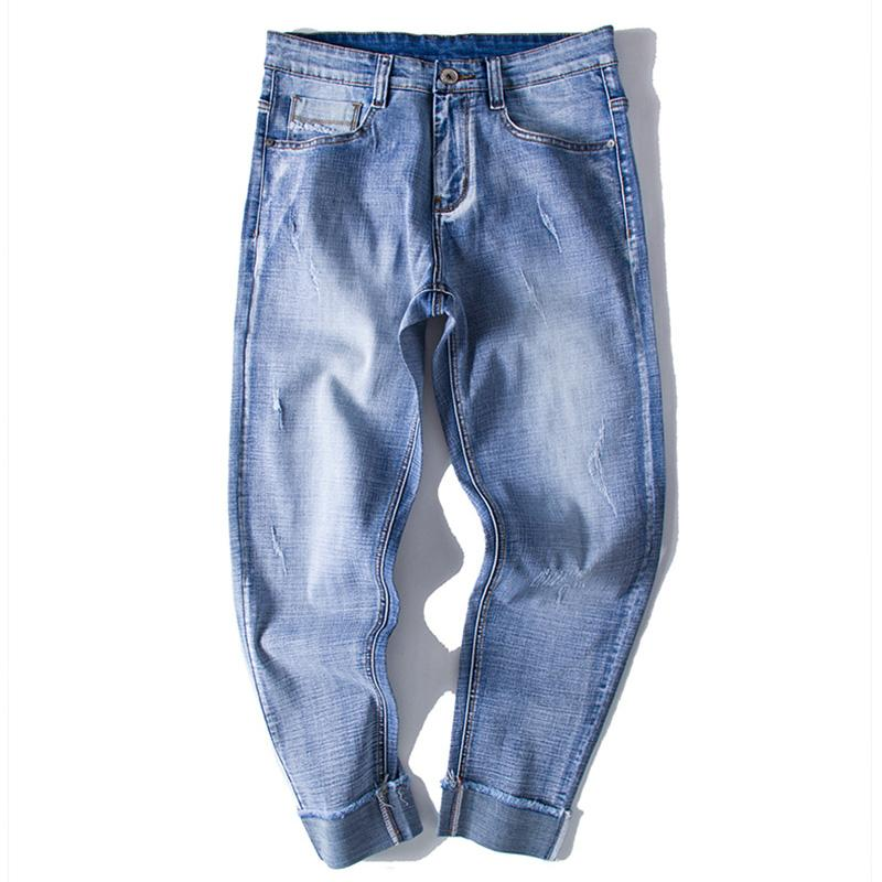 Large Size S-6XL Men Jeans Pants 2018 Spring New European and American Personality Slim Retro Holes Ripped Blue Denim Trousers
