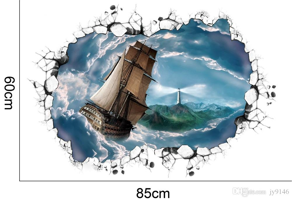 Sailing Boat Lighthouse Wall Sticker PVC Self Adhesive Wall Broken ...
