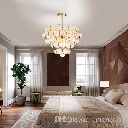 Modern Chandelier LED American Gold Chandeliers Lights Fixture Glass Balls Droplight Foyer Home Hanging Lamps 3 White Light Color Dimmable