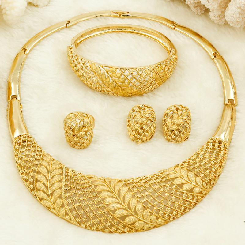 2020 African Women Fashion Jewelry Bride Wedding Jewelry Sets 18 Gold Dubai Gold Design Hoop Ring Earrings Charm Bracelet From Heheda1 16 52 Dhgate Com