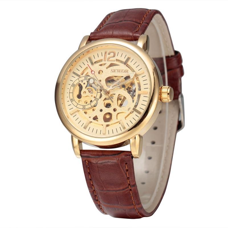 SEWOR Brand Business Male Skeleton Mechanical Watch Men Famous Luxury Watch Band Analog Clock Fashion Style Wristwatch SWQ32PU